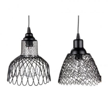 Set 2 lampi solare cu Led Mesh, metal, negru, 15x14.5 cm2