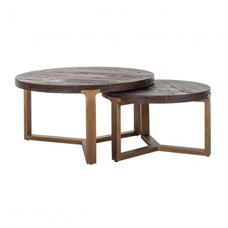 Set 2 masute Cromford, Lemn/Metal, Bronz/Maro, 40/35x90/70x90/70 cm [0]