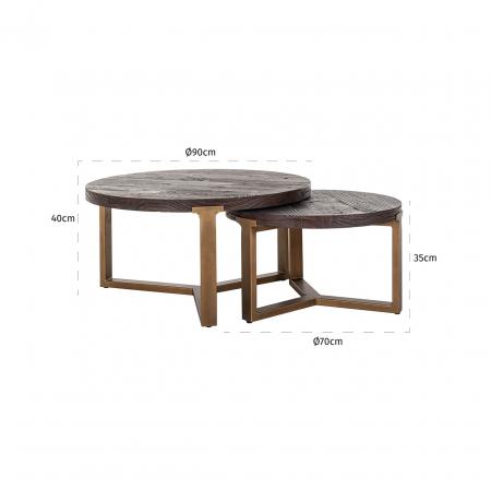 Set 2 masute Cromford, Lemn/Metal, Bronz/Maro, 40/35x90/70x90/70 cm [1]