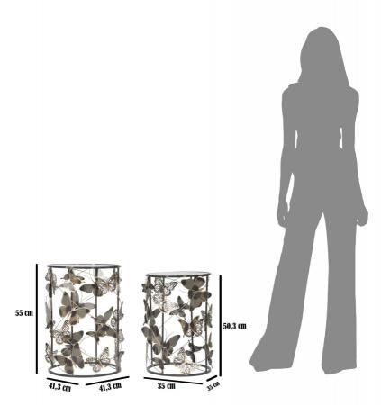 Set 2 masute Farfalle, fier/sticla, multicolor, 41,3X55-35X50,3 cm [6]