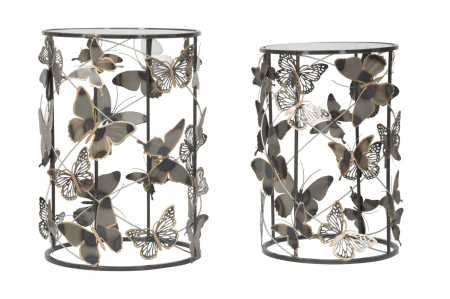 Set 2 masute Farfalle, fier/sticla, multicolor, 41,3X55-35X50,3 cm [1]