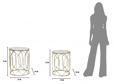 Set 2 masute TUNISI (cm) Ø 42X53-38X479