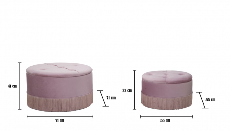 Set 2 pufuri cu spatiu de depozitare LINES (cm) Ø 71X41-55X335