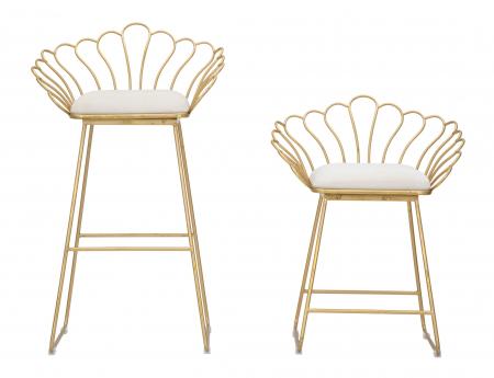 Set 2 scaune bar GLAM FLOWER, alb,  CM 57X52X94-56X48X72,50, Mauro Ferretti [6]