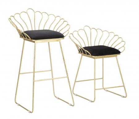 Set 2 scaune de bar GLAM FLOWER  (cm) 57X52X94-56X48X72,500