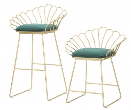 Set 2 scaune de bar GLAM FLOWER  (cm) 57X52X94-56X48X72,502
