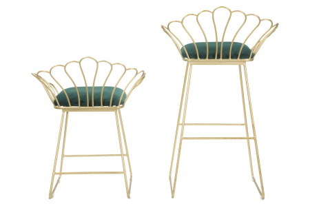 Set 2 scaune de bar GLAM FLOWER  (cm) 57X52X94-56X48X72,504