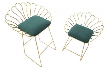 Set 2 scaune de bar GLAM FLOWER  (cm) 57X52X94-56X48X72,503