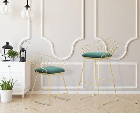 Set 2 scaune de bar GLAM FLOWER  (cm) 57X52X94-56X48X72,509
