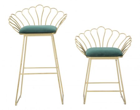 Set 2 scaune de bar GLAM FLOWER  (cm) 57X52X94-56X48X72,501