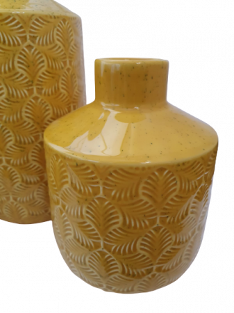 Set 3 piese Lampa, vaza, bol ANTWERP , ceramica, galben, 30/20/15 cm2