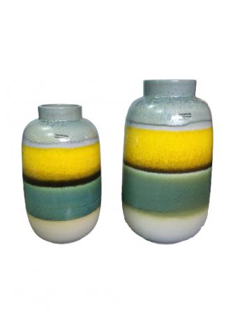 Set 2 vaze cu 1 farfurie DUBAI, ceramica, multicolor, 41/34/7.5 cm5