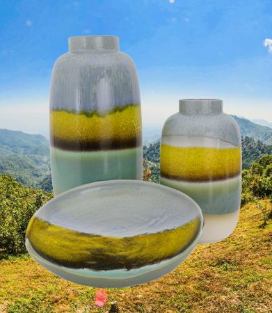 Set 2 vaze cu 1 farfurie DUBAI, ceramica, multicolor, 41/34/7.5 cm1