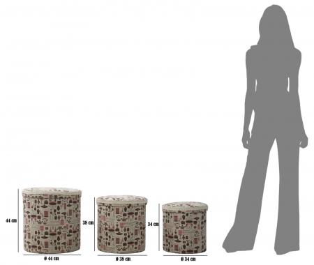 Set 3 cutii depozitare (cm) 44X44 - 38X38 - 34X344