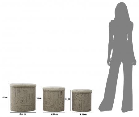 Set 3 cutii depozitare (cm) 44X44 - 38X38 - 34X346