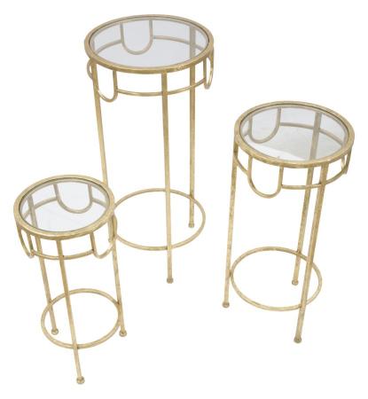 Set 3 masute GOLD  (cm) Ø 33X70-28X60-23X503