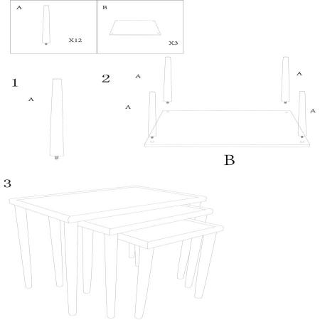 Set 3 masute PAGLIA DI VIENNA (cm) 64X40X53-50X38X47-36X36X42 9
