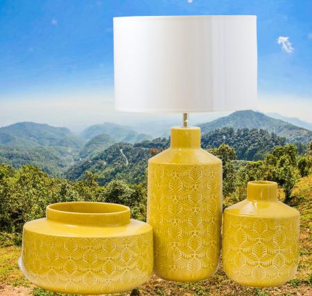 Set 3 piese Lampa, vaza, bol ANTWERP , ceramica, galben, 30/20/15 cm0