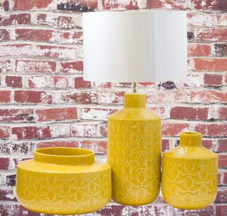 Set 3 piese Lampa, vaza, bol ANTWERP , ceramica, galben, 30/20/15 cm1