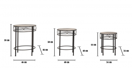 Set 3 suporturi pentru flori ESSENTIAL TRIS (cm) Ø 46X58-40X50-34X449