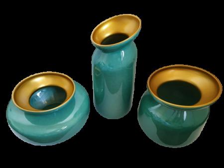 Set 3 vaze HERITAGE, ceramica, albastru, 41/34/7.5 cm0