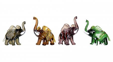 Set 4 deco ELEPHANT, sticla, 8.5X5X7 cm1