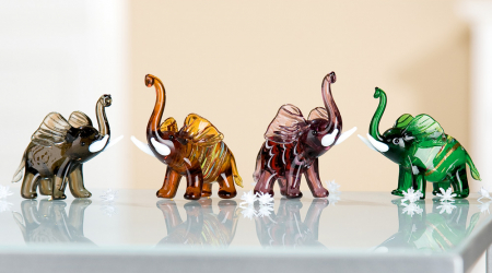 Set 4 deco ELEPHANT, sticla, 8.5X5X7 cm0
