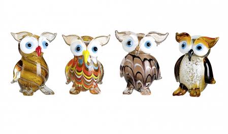 Set 4 deco OWL, sticla, 4X3.5X5.5 cm1