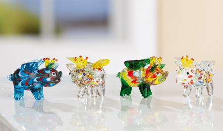 Set 4 deco PIG WINGS, sticla, 4.5X3.5X4.5 cm0