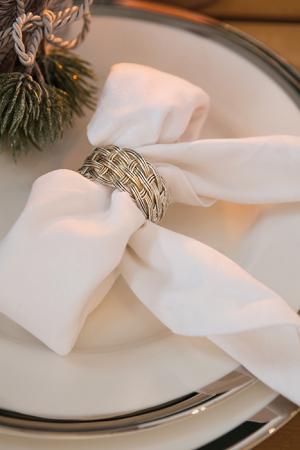 Set 4 inele servete de masa KATE, placate cu argint, 4.5 cm0