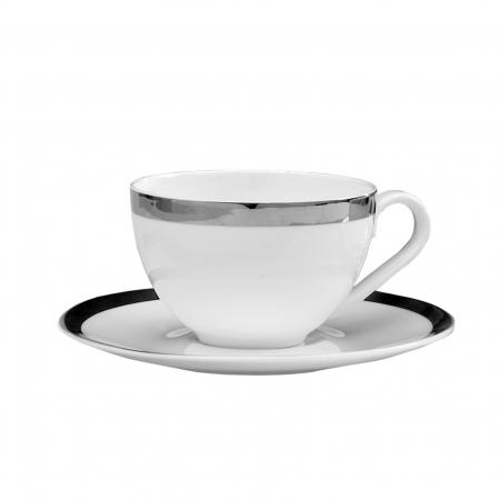 Set ceasca si farfurie pentru cappuccino PLATINUM, portelan,8x17 cm0