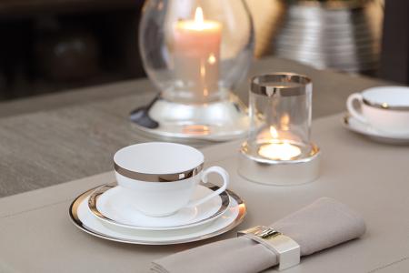 Set ceasca si farfurie pentru cappuccino PLATINUM, portelan,8x17 cm1