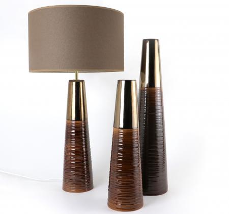 Set 1 Lampa cu 2 Vaze CHEDI, ceramica, maro/auriu, 42/57/42 cm2
