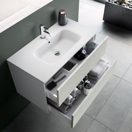 Set de baie cu 4 piese AGO, Melamina/Aluminiu/Abs/Sticla/Ceramica/Metal, Alb,  101x46.5x190 cm1