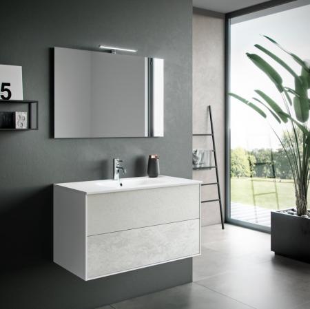 Set de baie cu 4 piese AGO, Melamina/Aluminiu/Abs/Sticla/Ceramica/Metal, Alb,  101x46.5x190 cm0