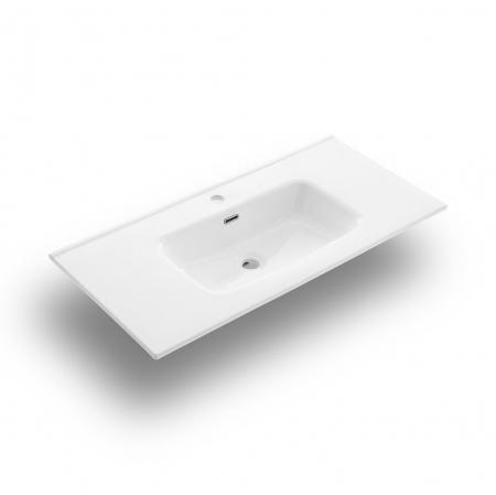 Set de baie cu 4 piese AGO, Melamina/Aluminiu/Abs/Sticla/Ceramica/Metal, Alb,  101x46.5x190 cm3