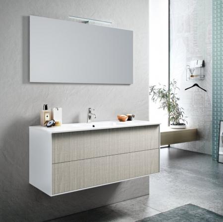 Set de baie cu 4 piese AGO , Melamina/Aluminiu/Abs/Sticla/Ceramica/Metal, Crem,  121x46.5x190 cm0