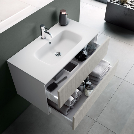 Set de baie cu 4 piese AGO , Melamina/Aluminiu/Abs/Sticla/Ceramica/Metal, Crem,  121x46.5x190 cm1