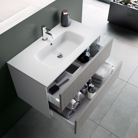 Set de baie cu 4 piese AGO, Melamina/Aluminiu/Abs/Sticla/Ceramica/Metal, Gri, 71x46.5x190 cm1