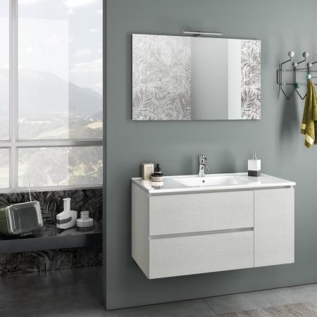 Set de baie cu 4 piese FLAM, Melamina/Aluminiu/Abs/Sticla/Ceramica/Metal, Alb, 101x46.5x190 cm0