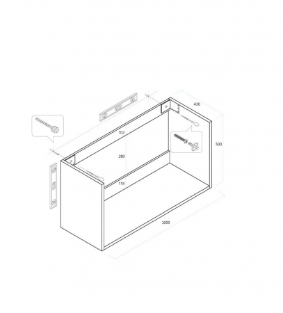 Set de baie cu 4 piese FLAM, Melamina/Aluminiu/Abs/Sticla/Ceramica/Metal, Alb, 101x46.5x190 cm2