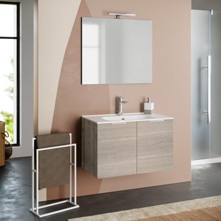 Set de baie cu 4 piese IRIS, Melamina/Aluminiu/Abs/Sticla/Ceramica/Metal, Crem, 81x46.5x190 cm0
