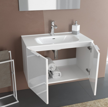Set de baie cu 4 piese IRIS, Melamina/Aluminiu/Abs/Sticla/Ceramica/Metal, Crem, 81x46.5x190 cm1