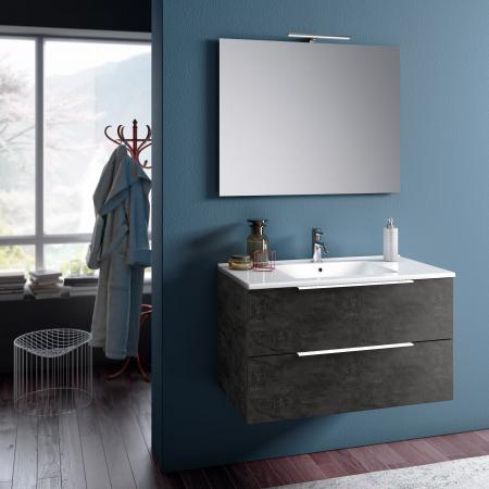 Set de baie cu 4 piese MALMO, Melamina/Aluminiu/Abs/Sticla/Ceramica/Metal, Gri, 91x46.5x190 cm0