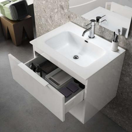 Set de baie cu 4 piese ONE, Melamina/Aluminiu/Abs/Sticla/Ceramica/Metal, Bej deschis, 61x46.5x190 cm1