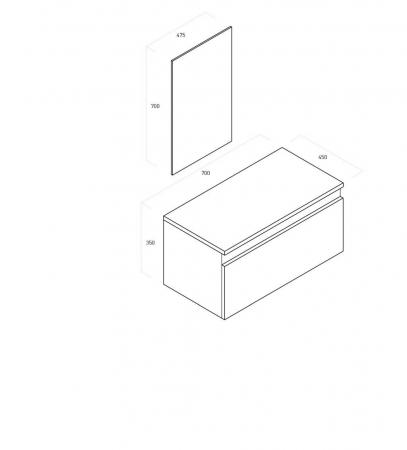 Set de baie cu 4 piese  PERTH, Melamina/Aluminiu/Abs/Sticla/Ceramica/Metal, Alb, 71x46.5x190 cm [6]