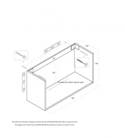 Set de baie cu 6 piese PERTH, Melamina/Aluminiu/Abs/Sticla/Ceramica/Metal, Gri, 140x46.5x190 cm2