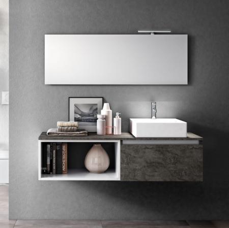 Set de baie cu 6 piese PERTH, Melamina/Aluminiu/Abs/Sticla/Ceramica/Metal, Gri, 140x46.5x190 cm0
