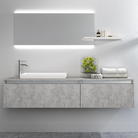 Set de baie cu 6 piese PERTH, Melamina/Aluminiu/Abs/Sticla/Rasina/Metal, Gri, 170x45x190 cm [0]