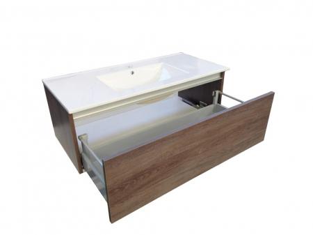 Set de baie cu 8 piese PERTH, Melamina/Aluminiu/Abs/Sticla/Ceramica/Metal, Alb/Maro inchis, 131x46.5x190 cm [2]